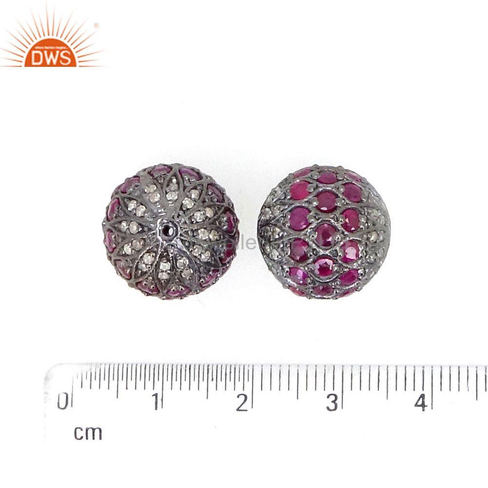 Suppliers Ruby Gemstone Bead 925 Sterling Silver Spacer Ball Finding Jewelry 15mm