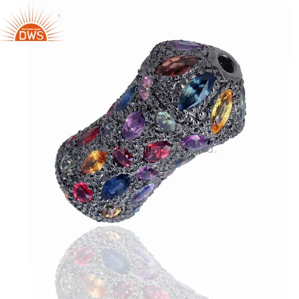 Suppliers Multi Gemstone 925 Sterling Silver Fine Spacer Finding Jewelry 30x13 mm