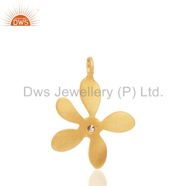Suppliers Floral Design Brass Gold Plated White Zircon Charm Jewelry Findings