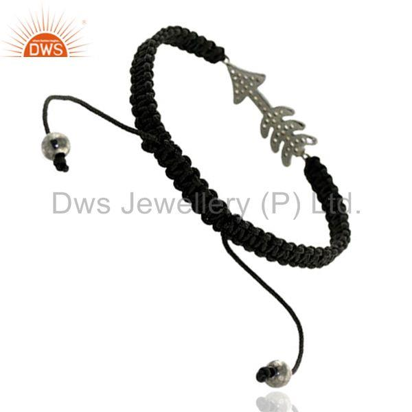 Suppliers 925 Sterling Silver Diamond Arrow Style Macrame Bracelet Handmade Gift Jewelry