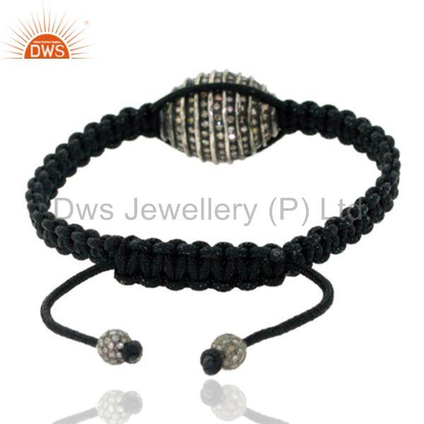 Suppliers 2.35 ct Diamond Bead 925 Sterling Silver Macrame Bracelet Christmas Gift Jewelry
