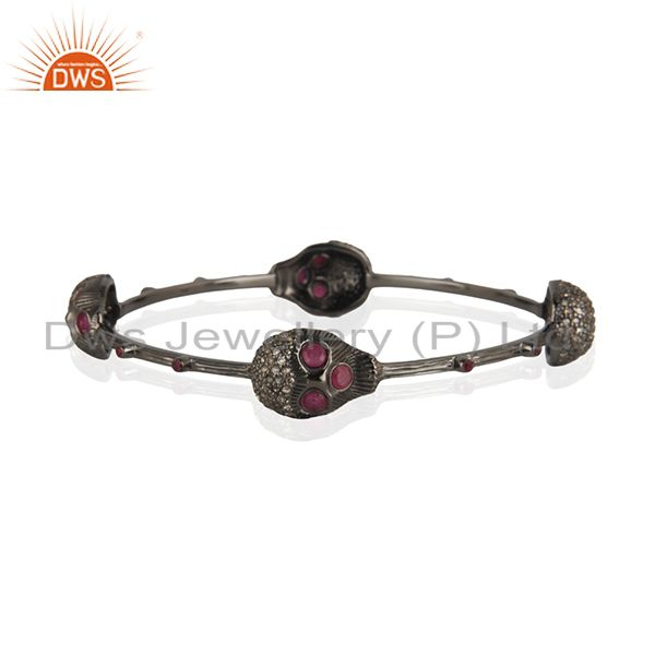 Wholesalers of Four skull bangle pave diamond ruby 925 silver handmade jewelry