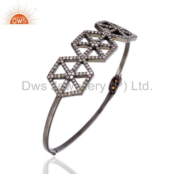 Wholesalers of 1.96ct pave diamond 14kt gold 925 silver designer bangle women jewelry