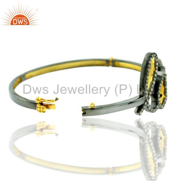 Wholesalers of 1.48ct pave diamond 14kt gold 925 silver love quoted bangle jewelry