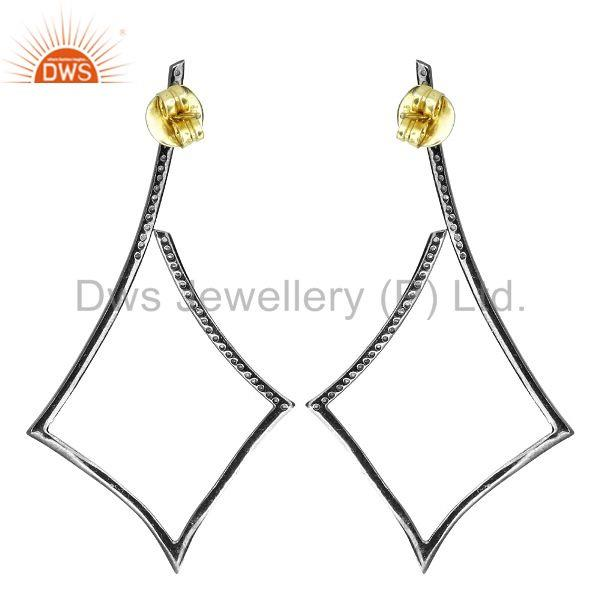 Suppliers 14K Gold Natural Diamond Dangle Earrings Sterling Silver Vintage Look Jewelry PY