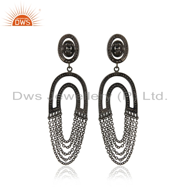 Suppliers Diamond Pave Dangle Earrings Sterling Silver 14 K Gold Vintage Style Jewelry PY