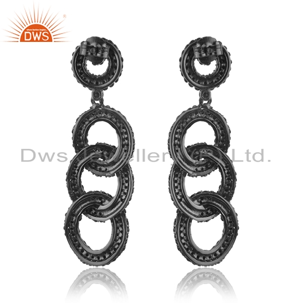 Suppliers 925 Sterling Silver Black Spinel Pave Link Chain Long Earrings