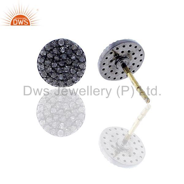 Suppliers Disc & Round Shape Diamond Stud Earrings Silver Gold Jewelry Gift For Christmas