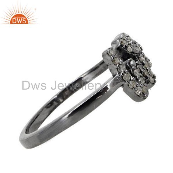 Designer of 1/4 ct pave diamond we signet ring vintage style jewelry solid sterling silver