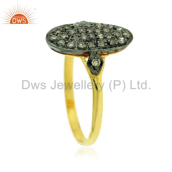 Designer of 0.20ct pave diamond 18kt gold 925 sterling silver vintage look ring gift jewelry
