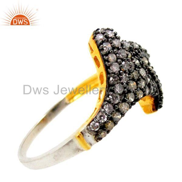 Designer of New natural .64ct diamond pave 14k gold vintage inspired ring 925 silift jewelry