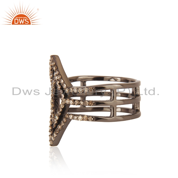Designer of New collection !! 0.58ct pave diamond .925 sterling silver designer ring jewelry