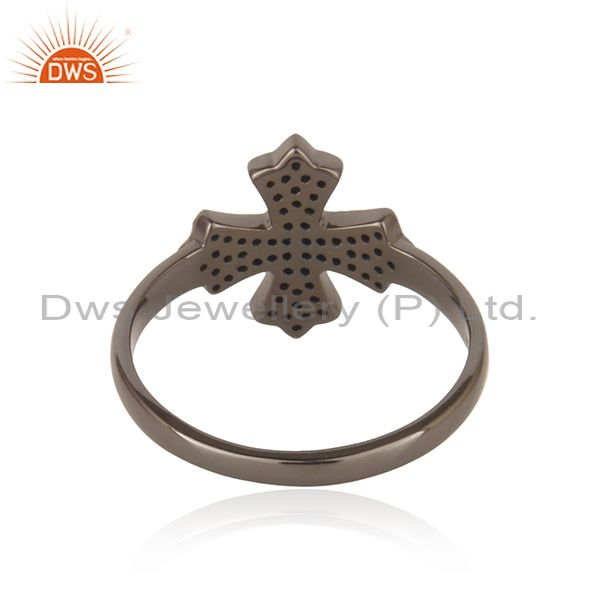 Designer of Diamond christian cross ring sterling silver vintage style handmade jewelry qy