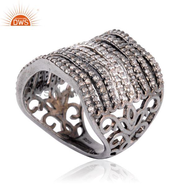 Designer of 1.03 ct natural pave diamond handmade ring .925 sterling silver designer jewelry