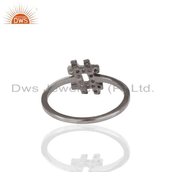 Designer of .925 silver hash sign pave white diamond trendy mid ring auction gift for easter
