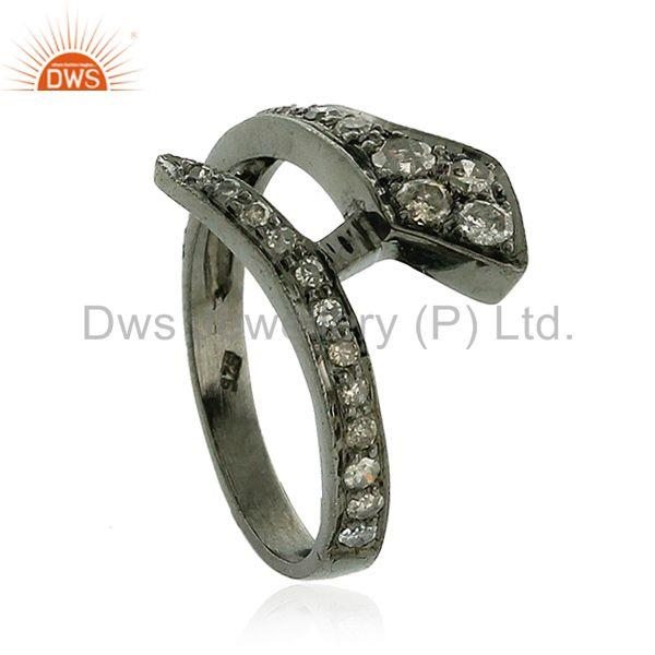 Designer of 0.75ct pave diamond 925 sterling silver snake style ring halloween gift jewelry