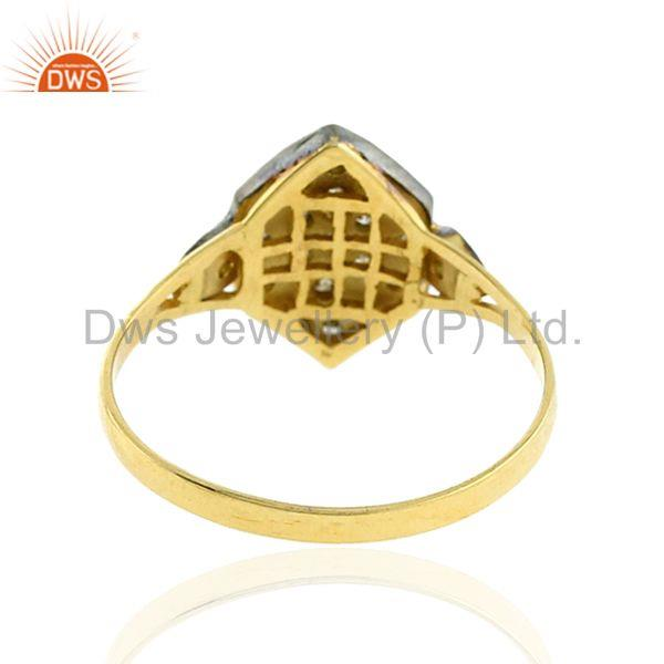 Designer of 14k solid gold 0.19ct pave diamond 925 sterling silver ring vintage look jewelry