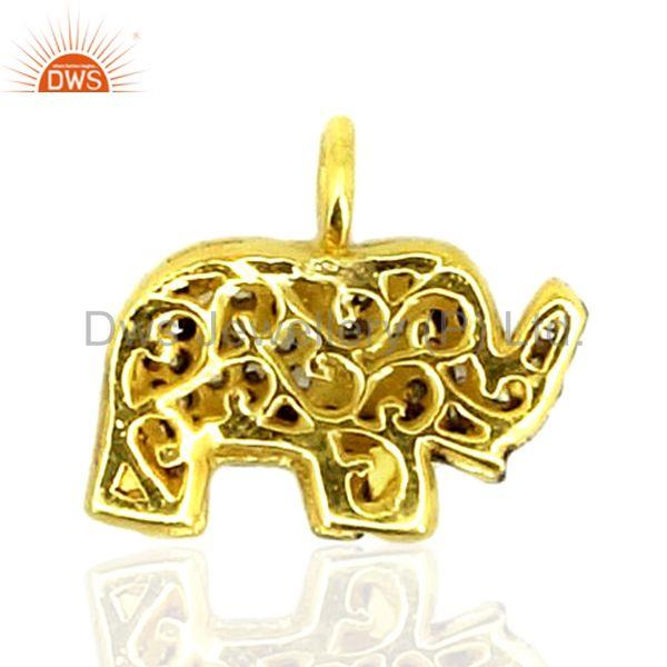 Suppliers 0.50Ct Diamond Pave 925 Sterling Silver Elephant Pendant Fine Gift Jewelry