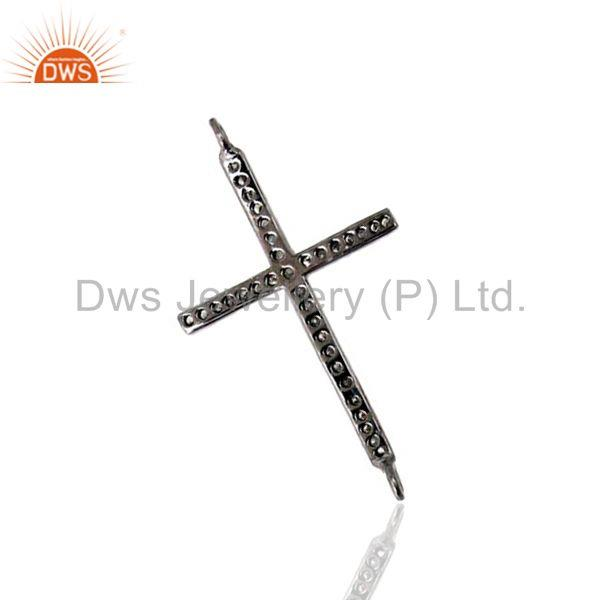 Designer of Diamond pave cross connector finding 925 sterling silver pendant jewelry 31x20mm
