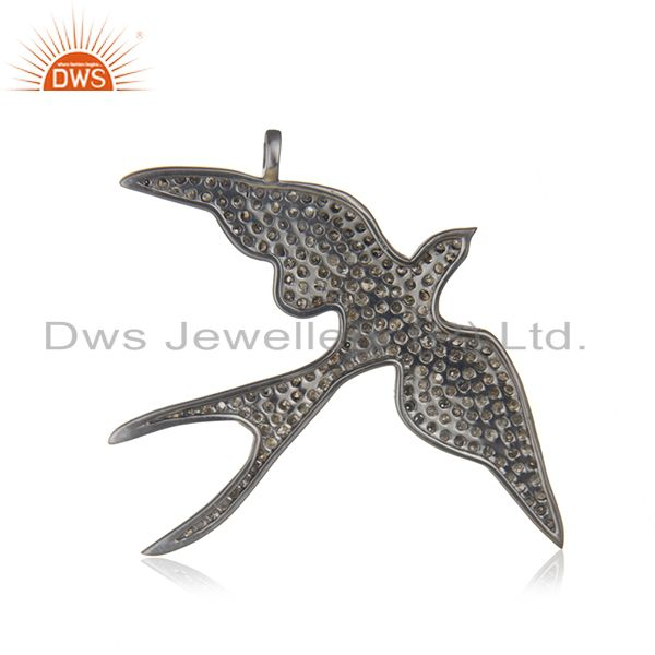 Designer of Swifts bird design 925 sterling silver & 2.38 ct pave diamonds charm pendant