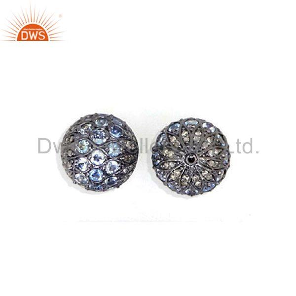 Designer of Topaz gemstone studded diamond spacer finding 925 silver disco bead ball jewelry