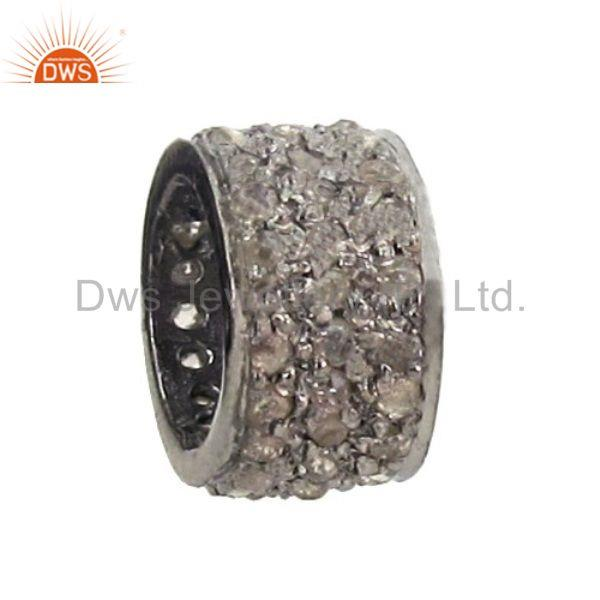 Designer of 925 sterling silver spacer natural diamond pave spacer finding jewelry