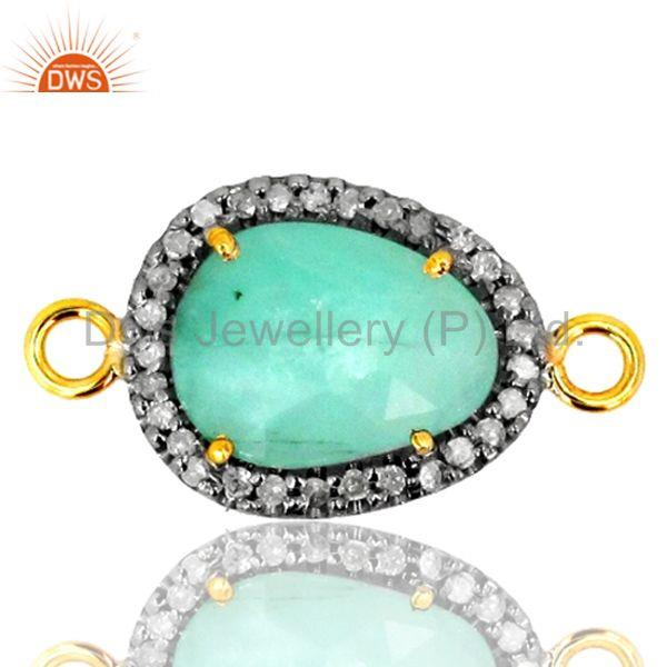 Designer of 24x13 mm emerald gemstone diamond connector finding gold sterling silver jewelry
