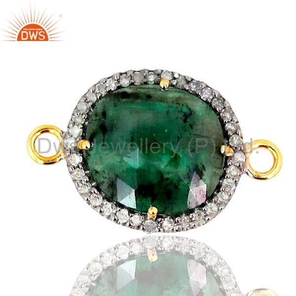 Designer of Sterling silver diamond pave gemstone emerald connector finding 14k gold jewelry