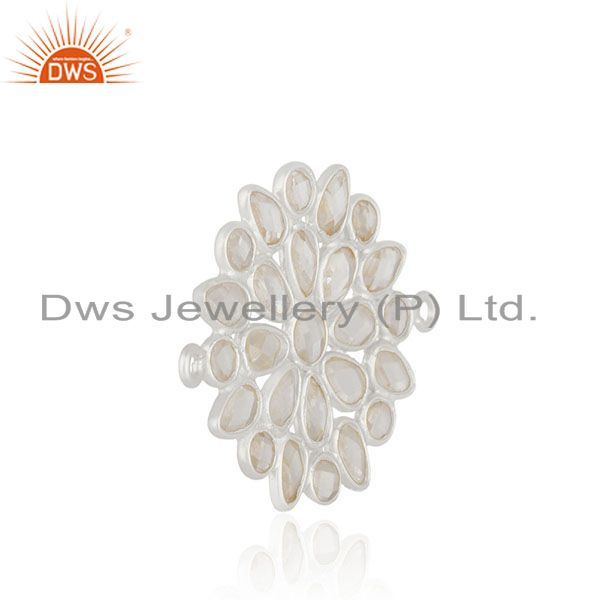Designer of White cz solid 925 silver handmade connector jewelry findings manufacturers