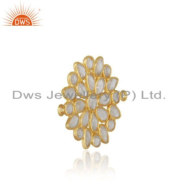 Designer of White zircon gold plated solid 925 silver connector jewelry finding manufacturer