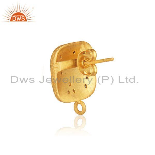 Designer of Gold plated brass white zircon stud earrings jewelry findings manufacturers