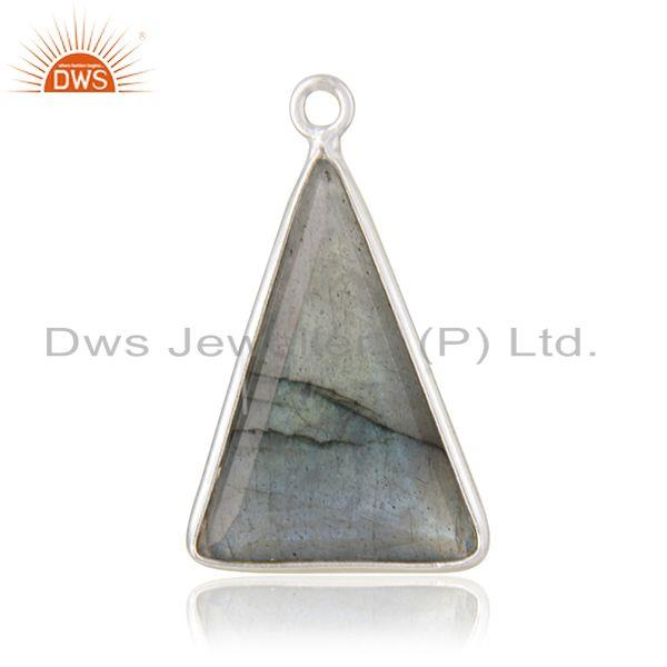 Designer of Labradorite gemstone 925 sterling fine silver triangle charm findings suppliers