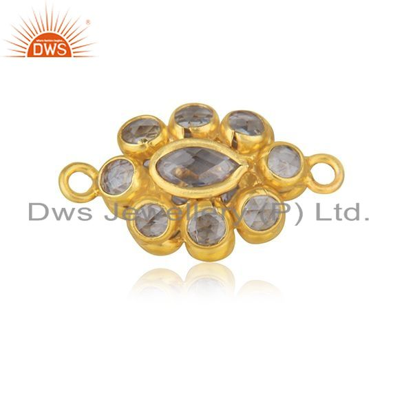 Designer of White zircon yellow gold plated sterling silver jewelry findings manufacturer