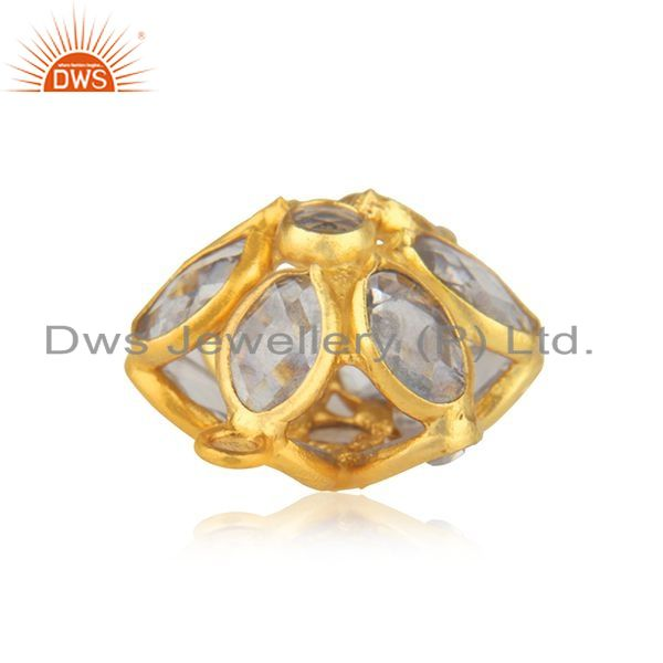 Designer of Handmade 925 silver gold plated white zircon connector jewelry findings supplier