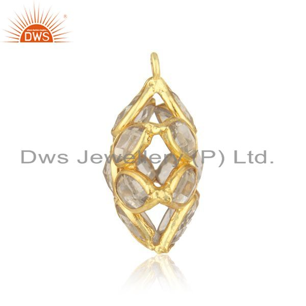 Designer of 92.5 sterling silver gold plated white zircon jewelry findings pendant wholesale