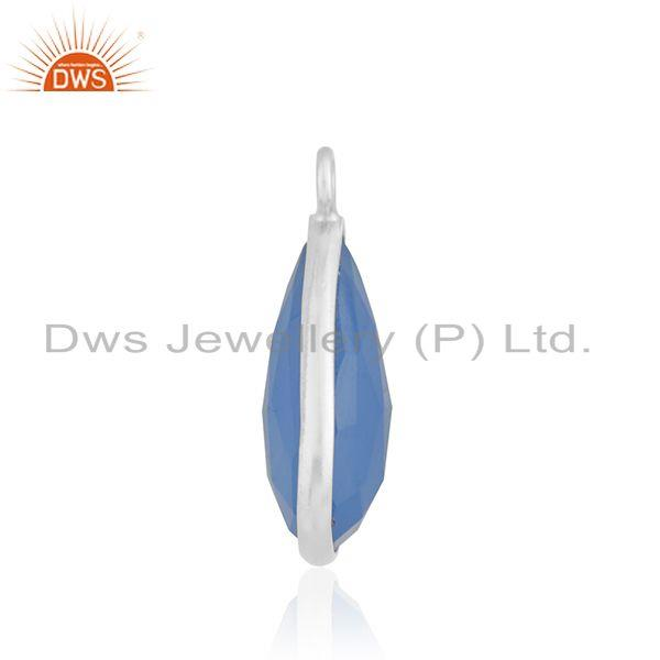 Designer of 925 sterling silver handmade blue chalcedony gemstone connector finding supplier