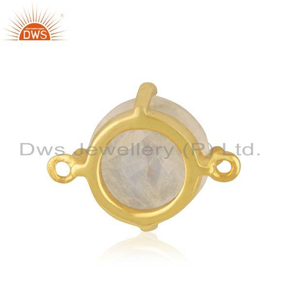 Designer of Rainbow moonstone designer gold plated brass connector jewelry