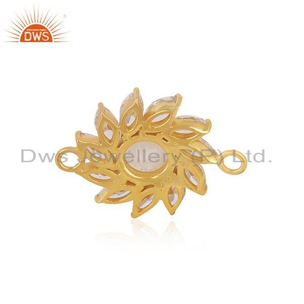 Designer of Floral gold plated 925 silver cz gemstone connector jewelry supplier