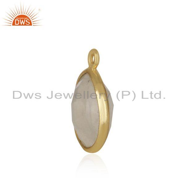 Designer of Rainbow moonstone gold plated 925 silver jewelry findings wholesaler