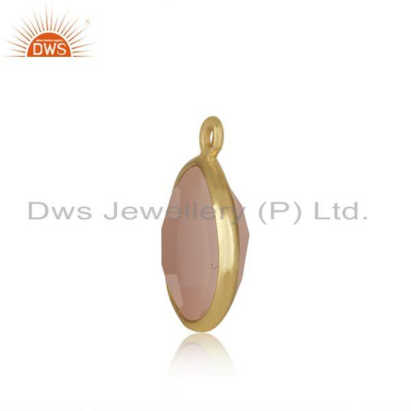 Designer of Rose quartz gemstone gold plated 925 silver jewelry findings wholesale