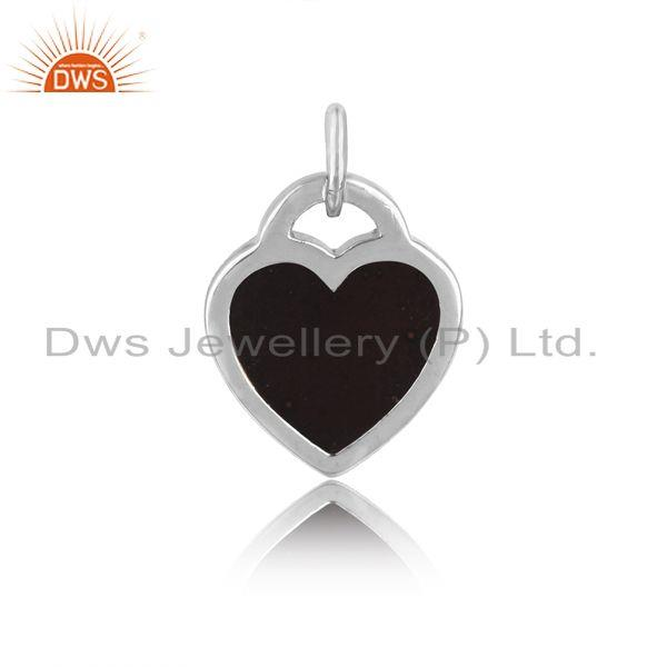 Designer of Silver 925 dainty charm with black enamel and white rhodium