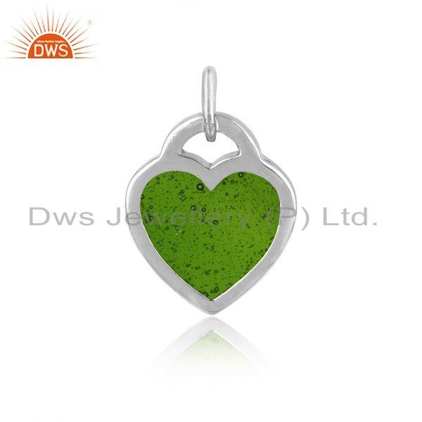 Designer of Silver 925 dainty charm with green enamel and white rhodium