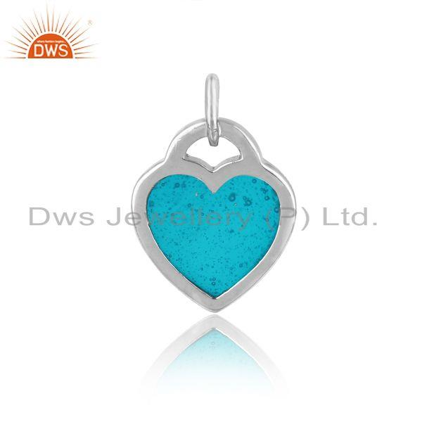 Designer of Silver 925 dainty charm with sky blue enamel and white rhodium