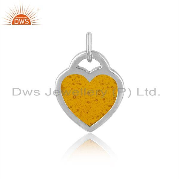 Designer of Silver 925 dainty charm with yellow enamel and white rhodium
