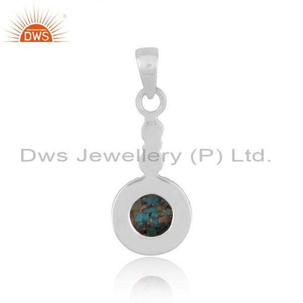 Round boulder turquoise set oxidized sterling silver pendant