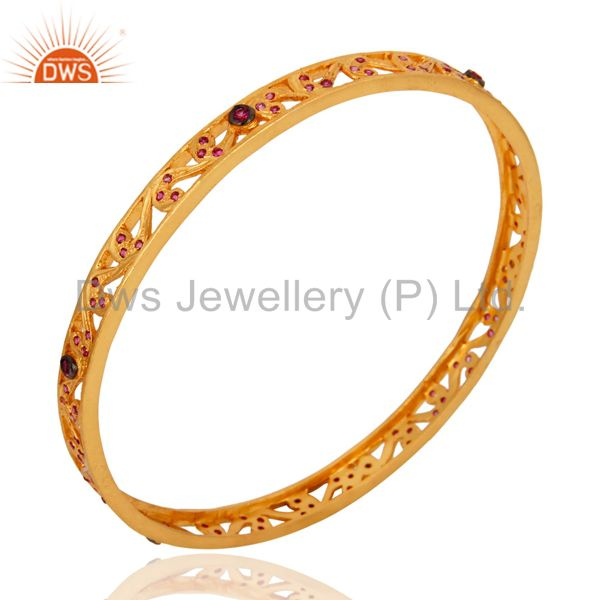 Wholesalers of 18k yellow gold over red cubic zirconia anniversary fashion bangle