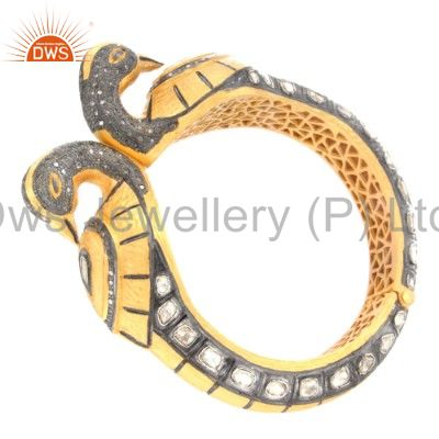 Wholesalers of 18k yellow gold sterling silver rose cut diamond peacock bangle