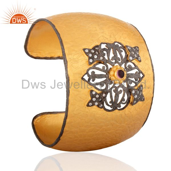 Suppliers Handmade 18k Yellow Gold Over Solid Brass White Cubic Zirconia Bangle Cuff Brace