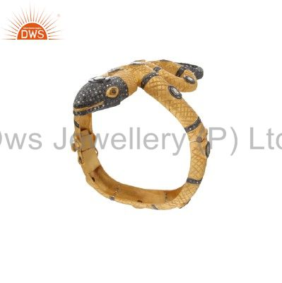 Wholesalers of 18k yellow gold silver rose cut diamond victorian look snake bangle