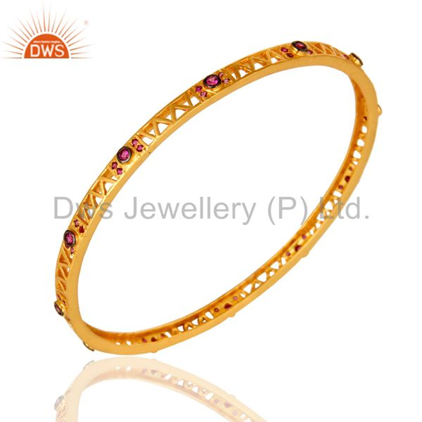 Wholesalers of Designer yellow gold over fashion bangle women red cubic zirconia